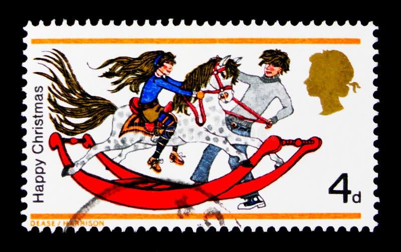 摇马,圣诞节1968年-儿童` s戏弄serie,大约1968年 免版税图库摄影