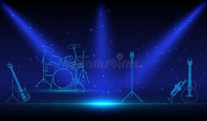 摇滚乐队线性乐器 库存例证