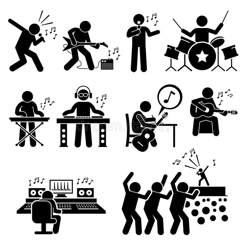 摇滚明星音乐家有乐器的Clipart音乐艺术家 库存例证