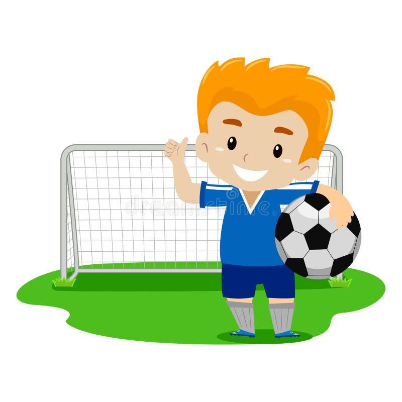摇他的手的足球运动员 向量例证