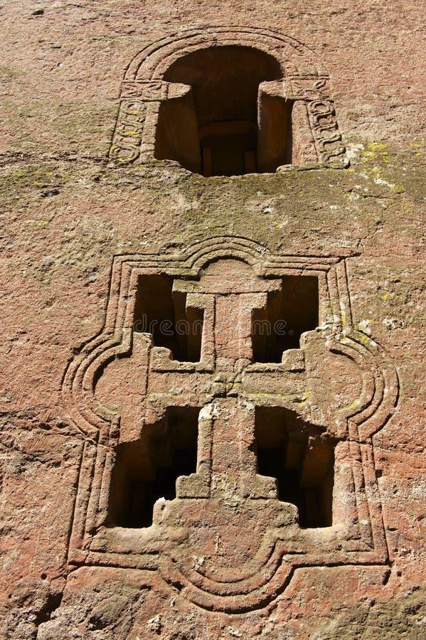 摇滚被砍成的教会的窗口,拉利贝拉,埃塞俄比亚 科教文组织世界遗产站点 库存图片
