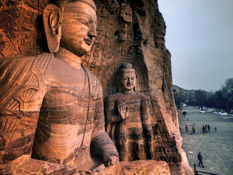 摇滚被雕刻的Buddhas 云岗石窟,大同,山西,中国 库存照片