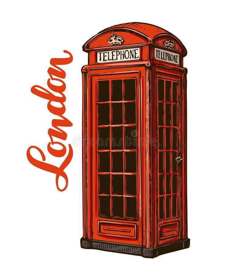 摊伦敦电话红色 在空白背景查出的向量例证 库存例证