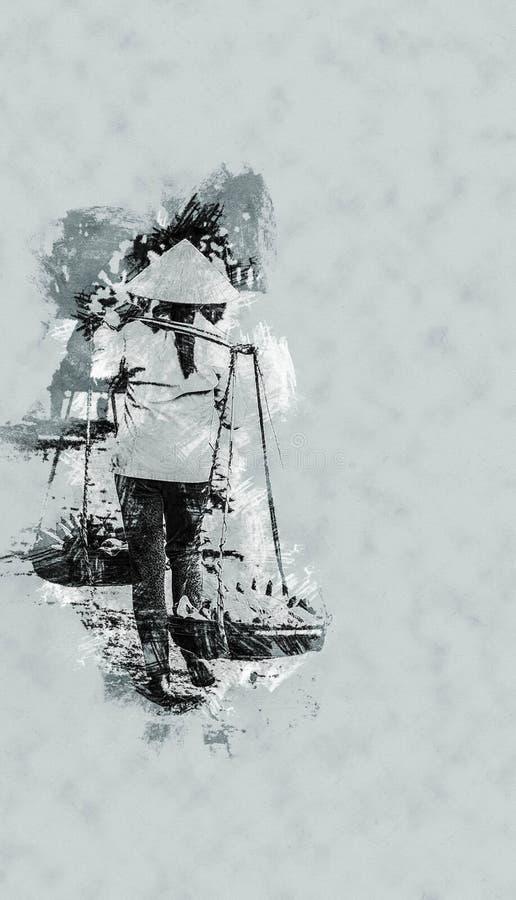 摊贩在会安市,越南 皇族释放例证