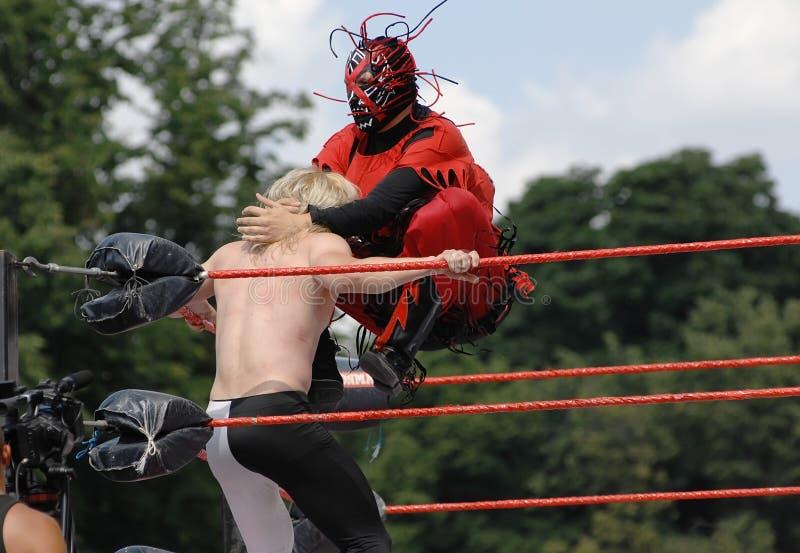 摔跤手战斗 库存图片