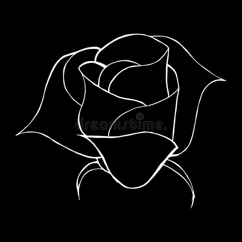 摘要上升了花在黑背景隔绝的概述象 r 罗斯商标 向量例证