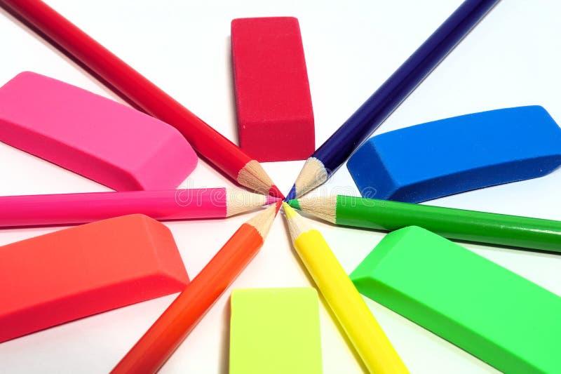 摘要上色了橡皮擦铅笔 免版税库存图片