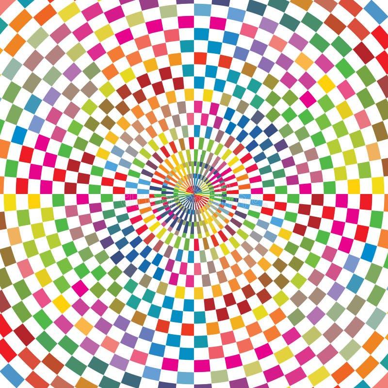 摘要上色太阳破裂背景纹理的方格的几何正方形 库存例证