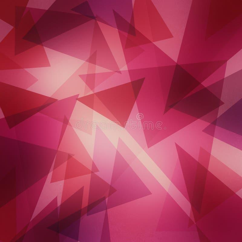 摘要与明亮的中心,乐趣当代艺术背景设计的层状桃红色和紫色三角样式 库存例证