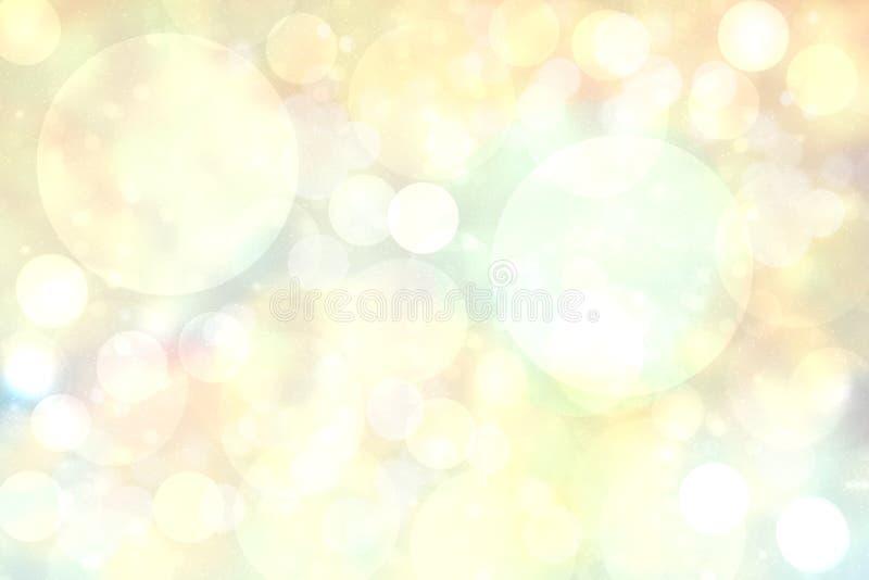 摘要与明亮的软的色环的被弄脏的生动的春天夏天轻的精美淡色黄色bokeh背景纹理 ?? 皇族释放例证