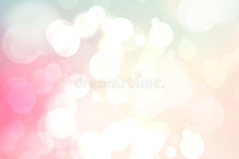 摘要与明亮的软的色环的被弄脏的生动的春天夏天轻的精美粉红彩笔bokeh背景纹理 空间为 向量例证