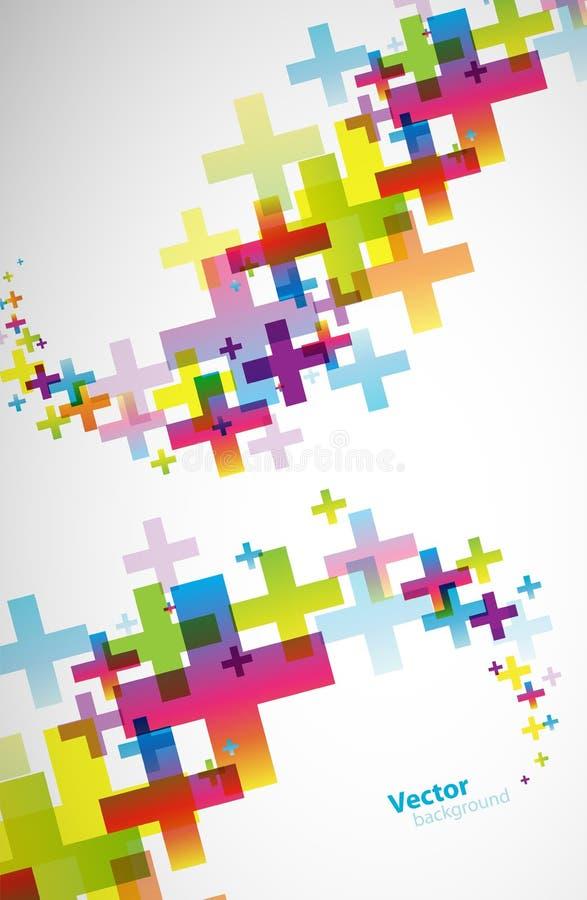 摘要与正标志的色的墙纸 向量例证