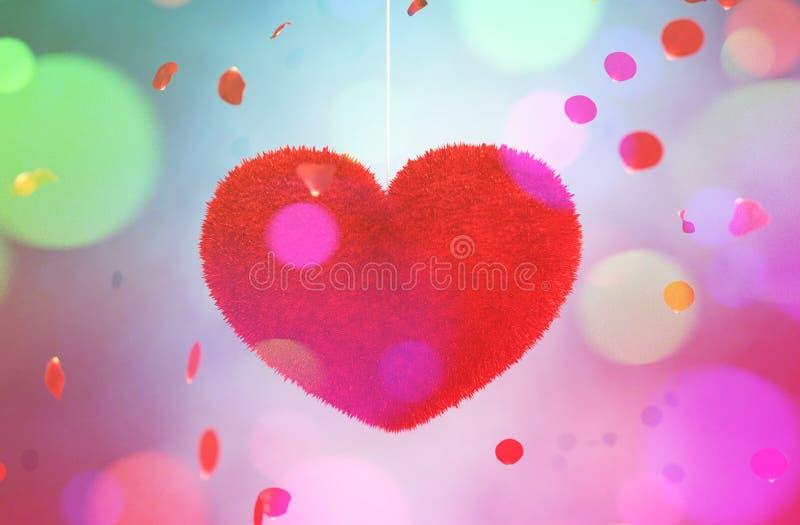 摘要五颜六色的毛茸的心脏 向量例证