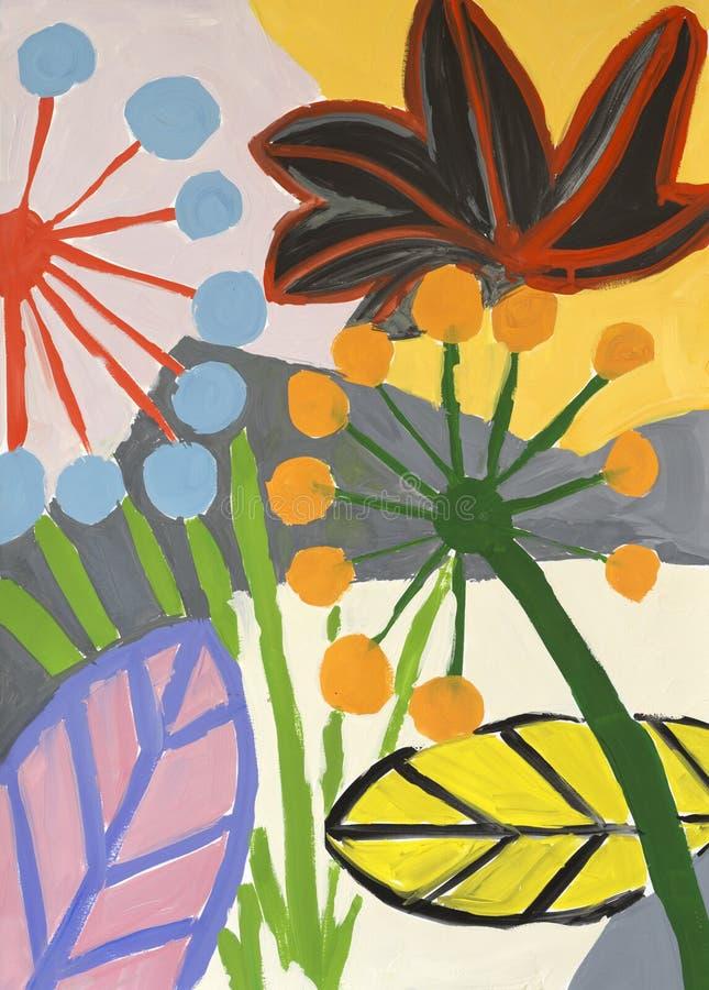 摘要五颜六色的花卉水彩例证 免版税图库摄影