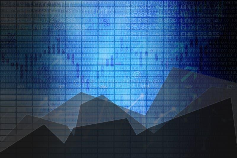 摘要企业与图表的证券交易所盘区作为背景 库存例证