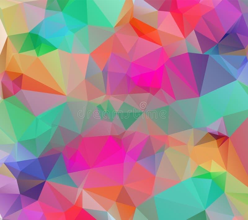 摘要低多三角现代几何背景 五颜六色的多角形马赛克样式模板 重复惯例与 皇族释放例证