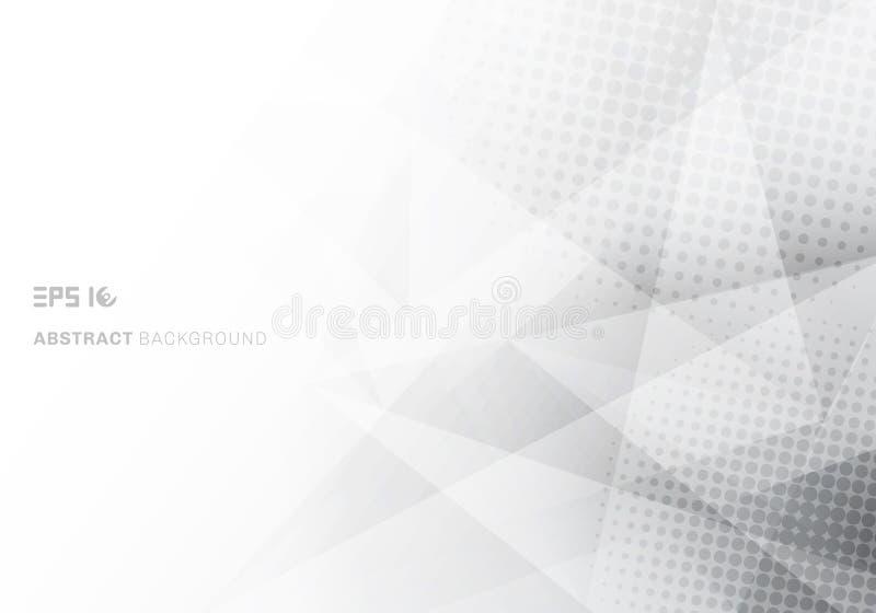 摘要低多白色和灰色三角多角形和中间影调有拷贝空间白色背景 向量例证