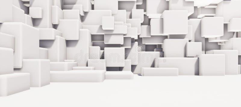 摘要内部白色铜铍几何墙壁纹理背景高分辨率3D CG翻译例证 皇族释放例证