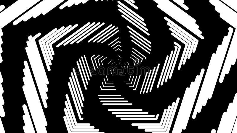 摘要几何白色冲程,螺旋转动的线,计算机生成的背景,3D回报背景 库存例证