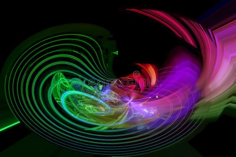 摘要分数维未来派充满活力的亮光纹理意想不到的火焰波浪设计发光的漩涡作用混乱 库存例证