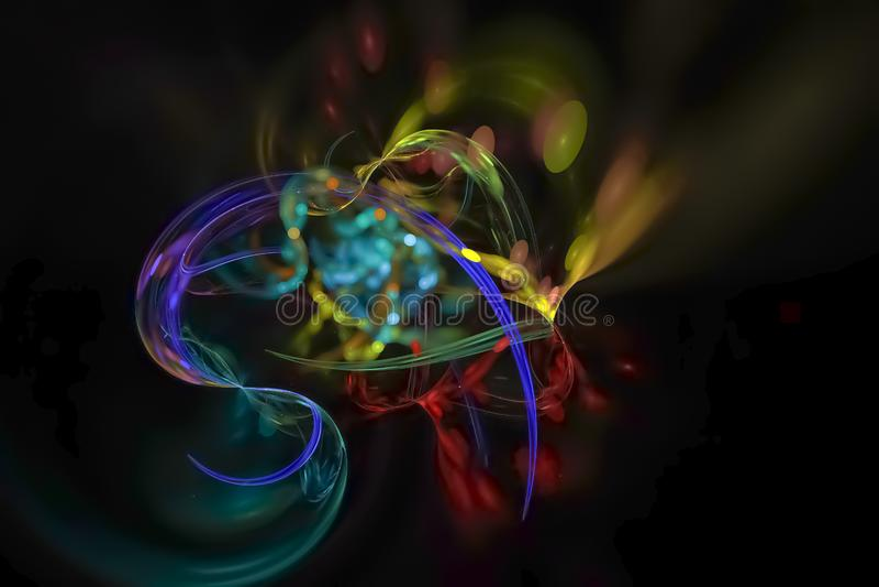 摘要分数维现代想象力曲线纹理未来派混乱意想不到科学火焰设计爆炸发光 向量例证