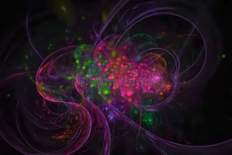 摘要分数维超现实的想象力曲线纹理未来派混乱意想不到的科学火焰设计爆炸创造性发光 库存例证