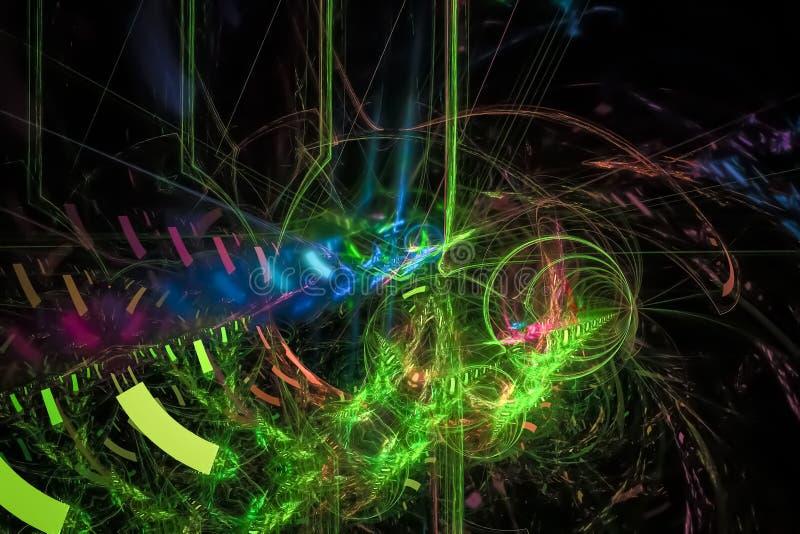 摘要发光的图表数字分数维未来派元素充满活力的科学意想不到的火焰幻想动态设计样式 库存例证