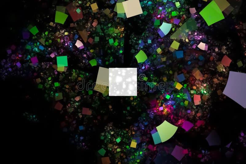 摘要发光的数字分数维充满活力的科学意想不到的火焰幻想动态美好的设计样式 库存例证