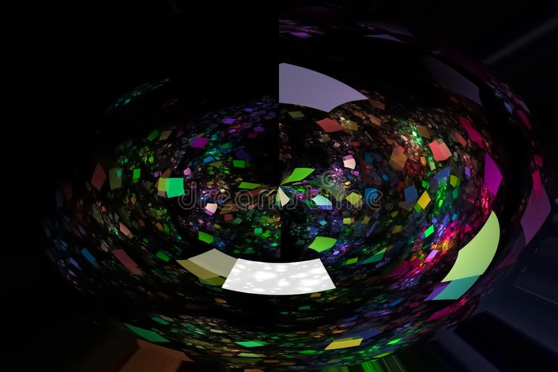 摘要发光的数字分数维科学意想不到的火焰幻想动态美好的设计样式 库存例证