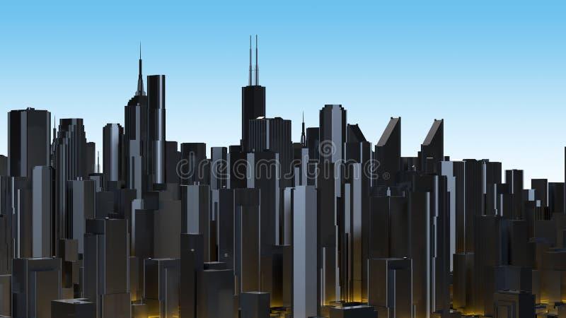 摘要发光的数字城市摩天大楼 3d翻译 皇族释放例证