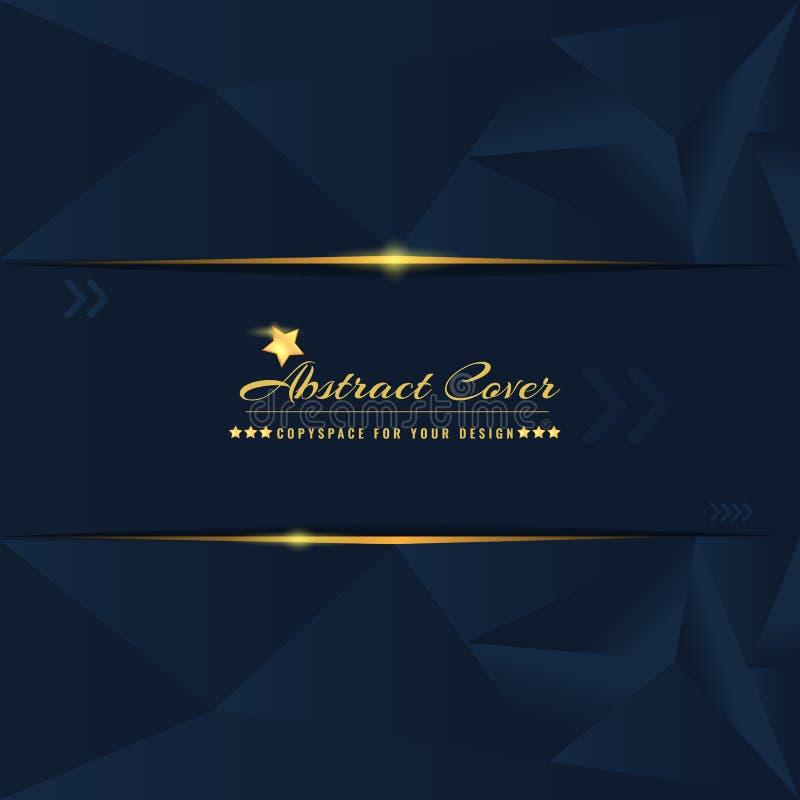 摘要和坚实黑暗的封面设计模板与发光的金黄元素 r 皇族释放例证