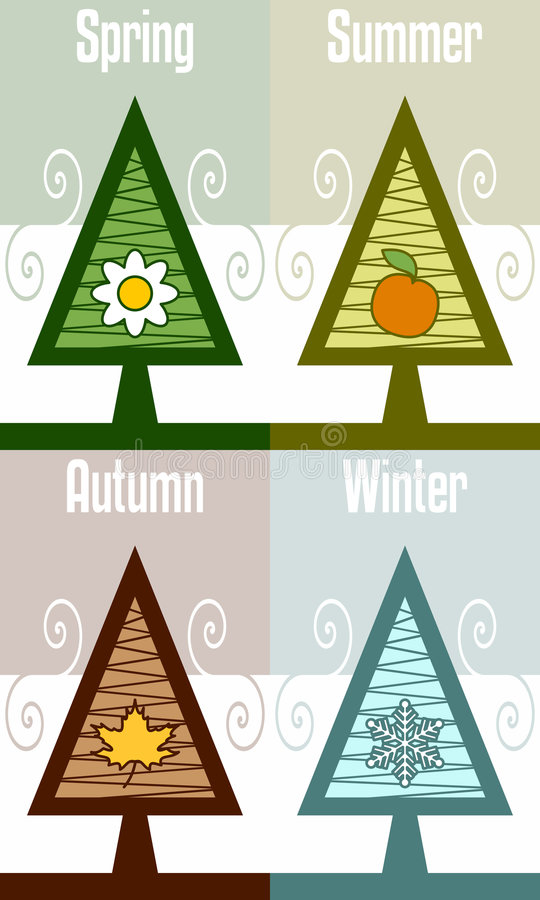 摘要四个季节结构树 库存例证
