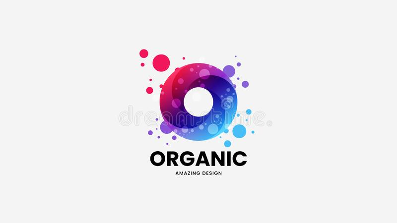 摘要圆环有机传染媒介商标标志 略写法象征例证 时尚多色自然徽章设计版面 向量例证