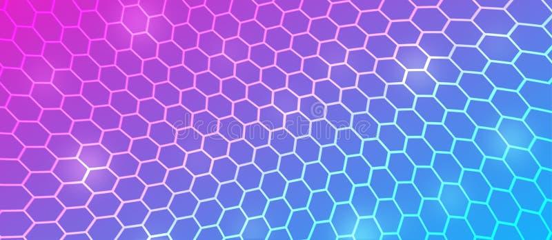 摘要在桃红色,蓝色和紫色背景中的弯曲六角滤网 皇族释放例证