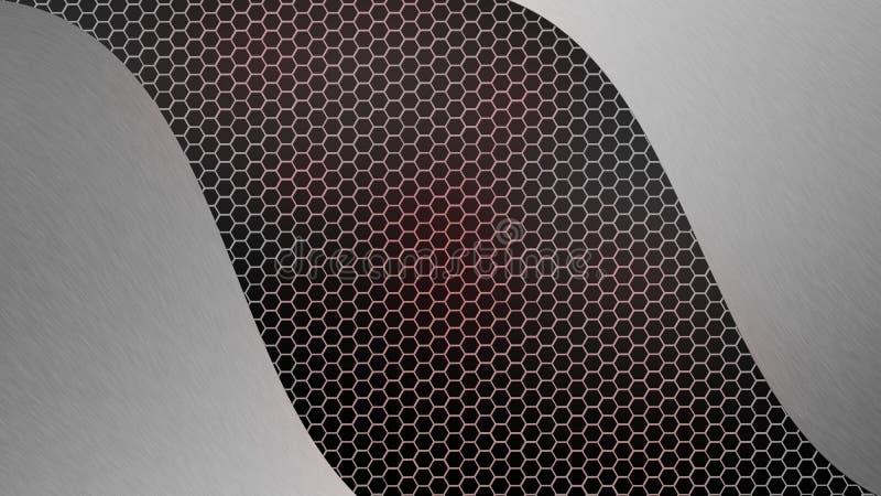 摘要在灰色和红色六角金属滤网背景的掠过的银色金属 库存照片