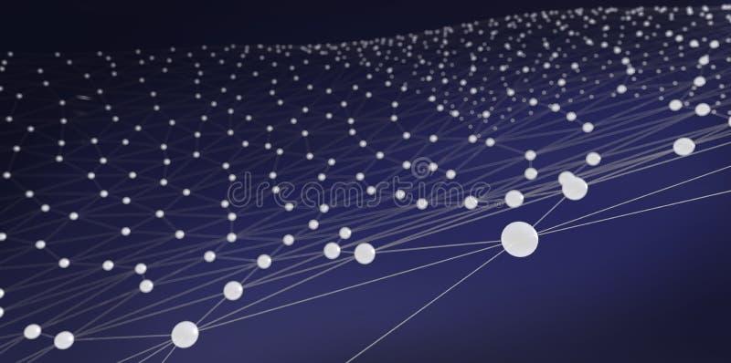 摘要在蓝色背景的被连接的小点 3d例证 林 库存例证