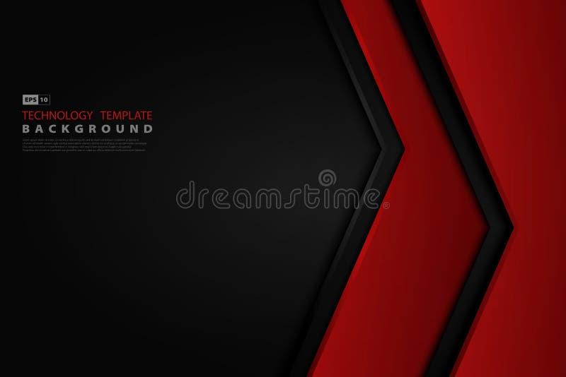 摘要在黑模板technoloty设计背景的梯度红色 r 皇族释放例证