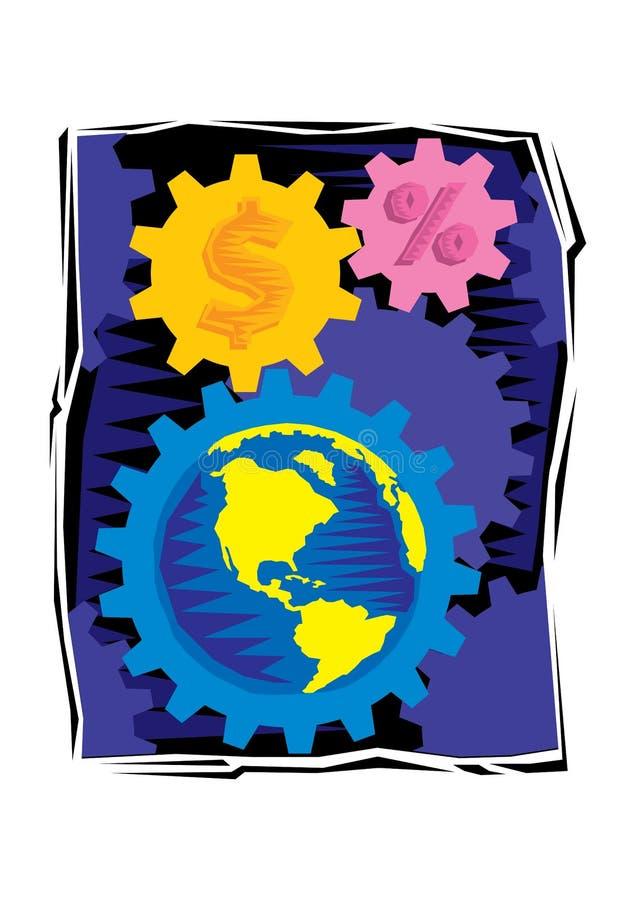 摘要地球和齿轮和美元的符号Clipart  皇族释放例证