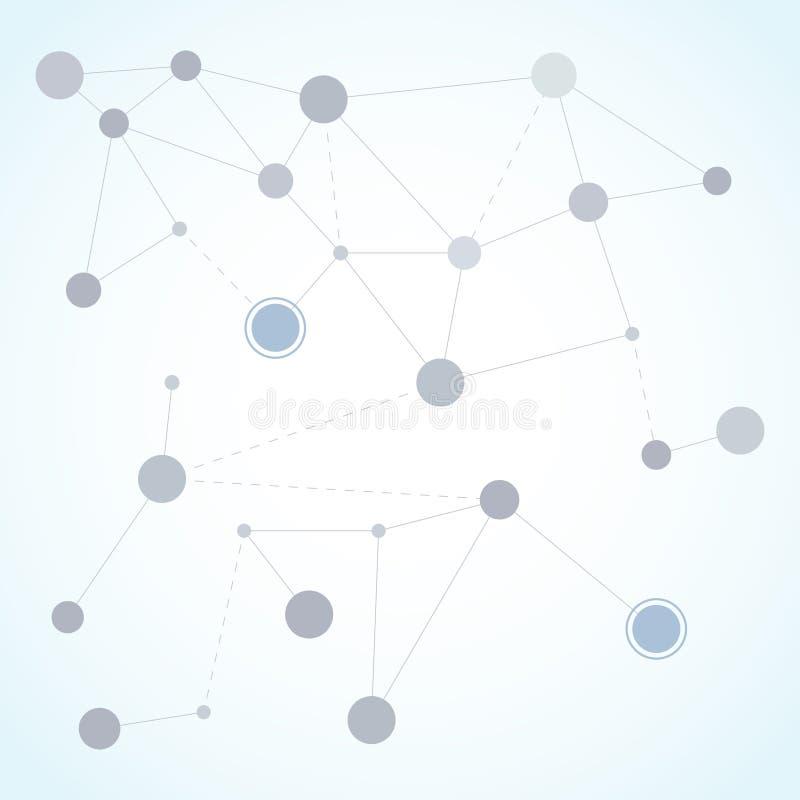摘要多角形与连接的小点和线 连接科学背景 库存例证