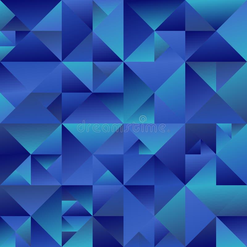 摘要多角形动态蓝色梯度三角背景设计 库存例证
