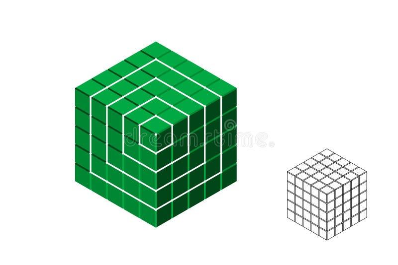 摘要多角形残破的立方体 : 等角投影 皇族释放例证