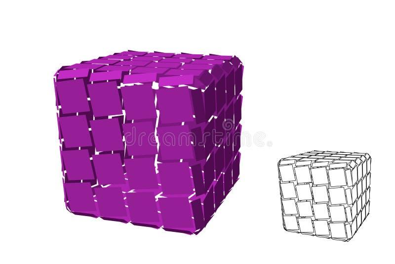 摘要多角形残破的立方体 背景查出的白色 也corel凹道例证向量 库存例证