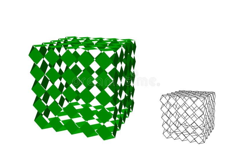 摘要多角形残破的立方体 r r 皇族释放例证