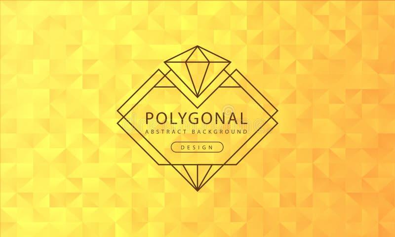 摘要多角形金黄黄色背景纹理,金黄黄色构造,横幅多角形背景,传染媒介例证 向量例证