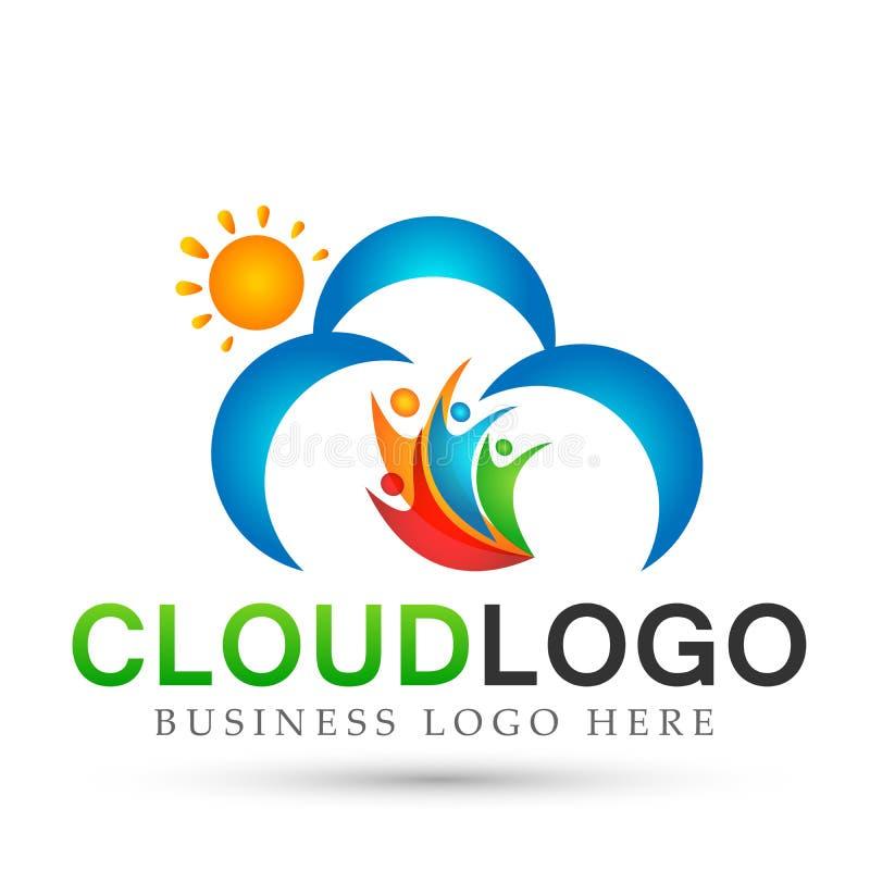 摘要太阳和云彩人团队工作联合健康庆祝概念标志象在白色背景的设计传染媒介 库存例证