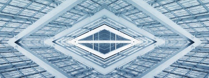 摘要建筑学现代修造的镜象反射未来派背景 免版税库存照片