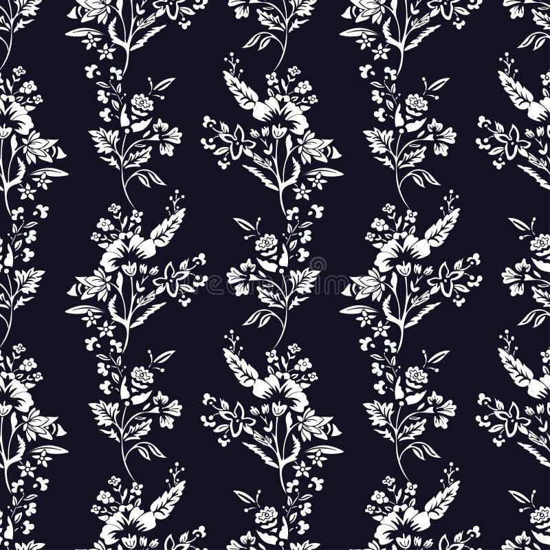 摘要开花无缝的样式,花卉单色传染媒介背景 在一个深蓝背景的幻想白色 对 向量例证