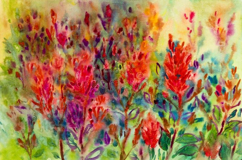 摘要开花水彩绘五颜六色秀丽花 库存例证