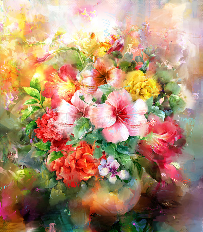 摘要开花水彩绘画 春天多彩多姿的花例证 向量例证