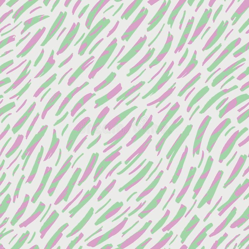 摘要手拉的动物皮毛传染媒介无缝的样式 有机片段 异想天开的对角条纹纹理 淡色 库存例证
